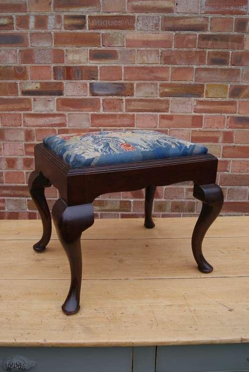 19th Century Mahogany Upholstered Stool