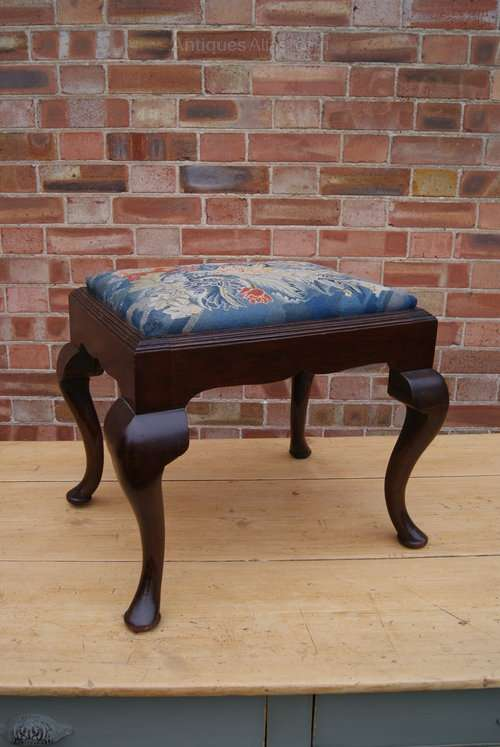 19th Century Mahogany Stool Original Needle work SOLD