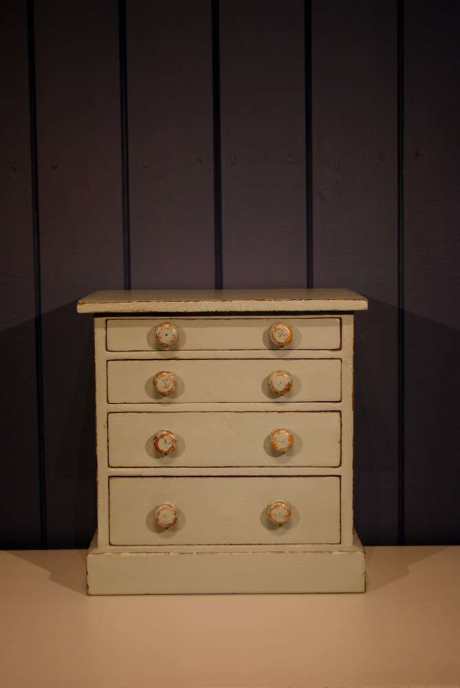 Mid Victorian Painted Pine Miniature Chest3