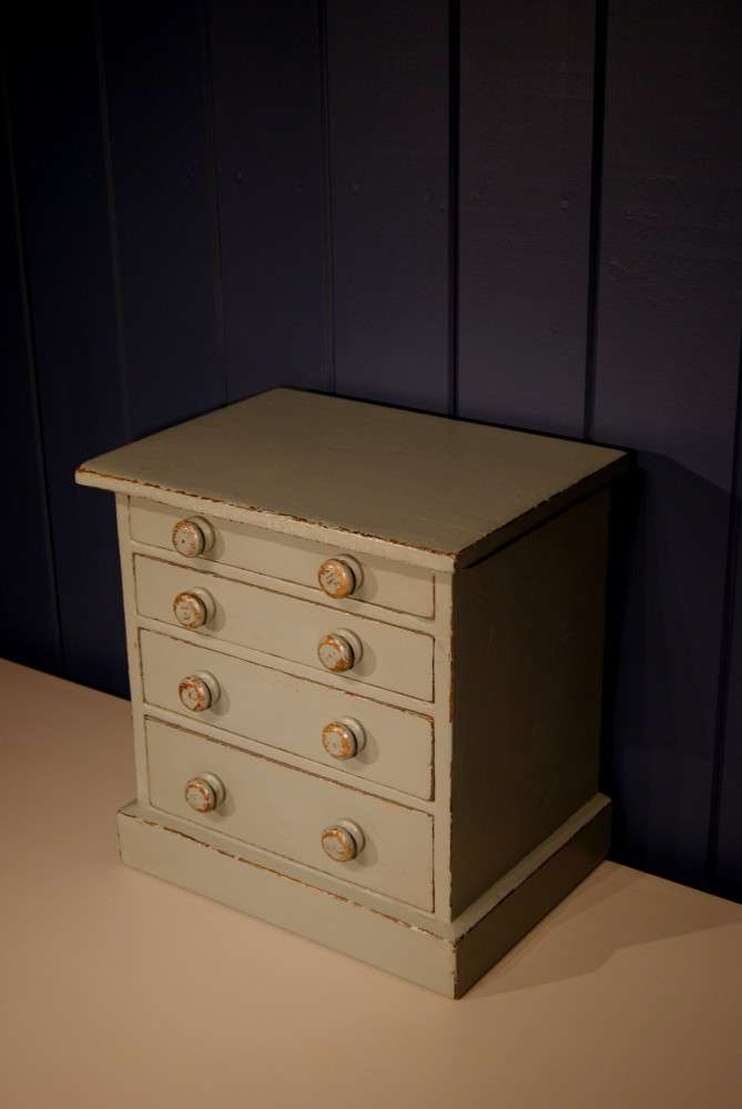 Mid Victorian Painted Pine Miniature Chest2
