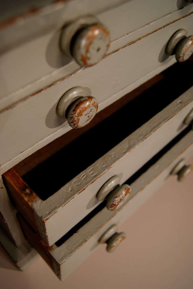 Mid Victorian Painted Pine Miniature Chest