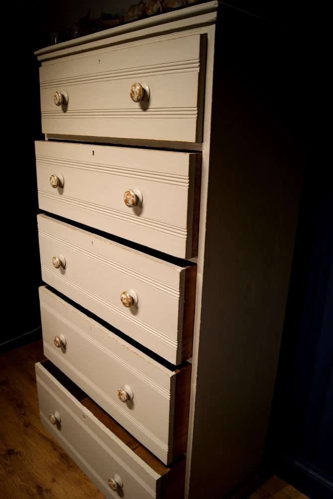 Edwardian Painted Ash Chest Of Drawers3