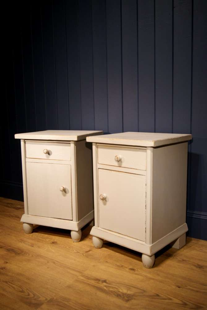 1920's French Painted Pine Bedside Cupboards1