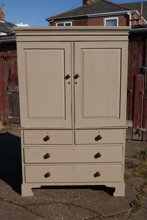 Early 19th Century Painted Pine Linen Press