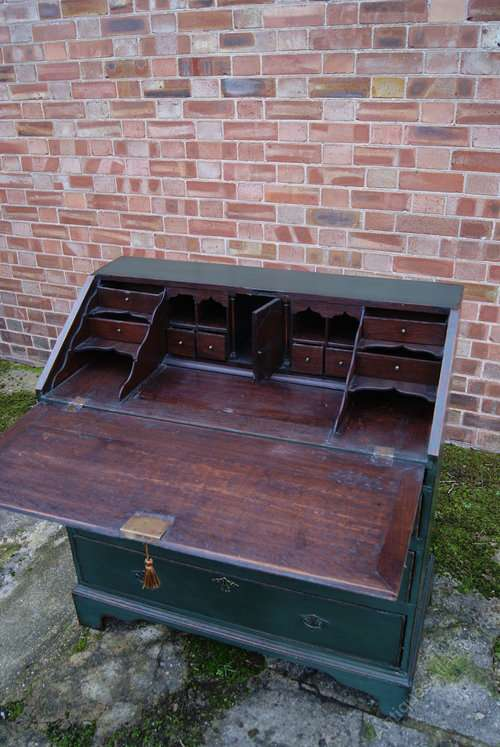 Early Victorian Painted Oak Bureau3