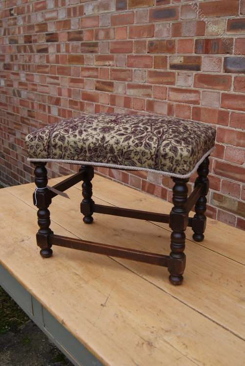 Edwardian Oak Upholstered Stool
