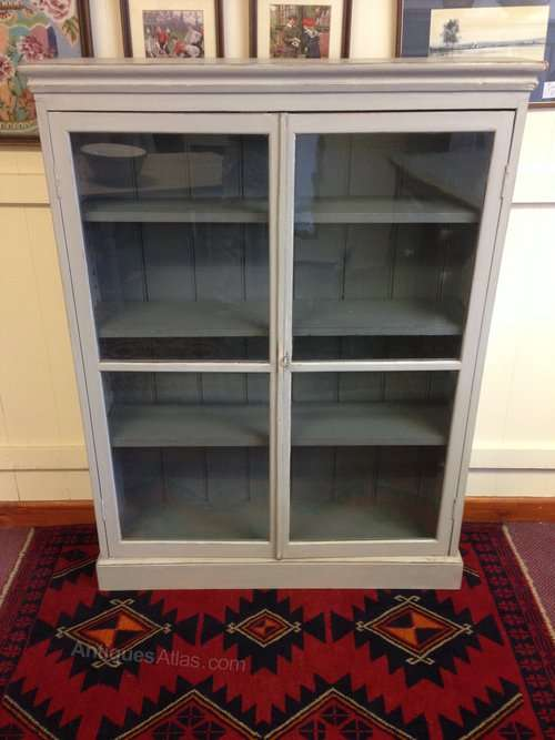 Edwardian Painted Pine Glazed 2 Door Bookcase SOLD