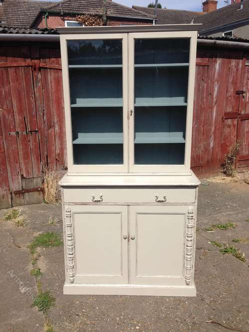Edwardian Painted Pine And Oak Cupboard Bookcase SOLD