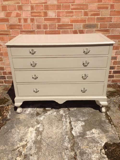 Edwardian Painted Walnut Queen Anne Style Chest SOLD