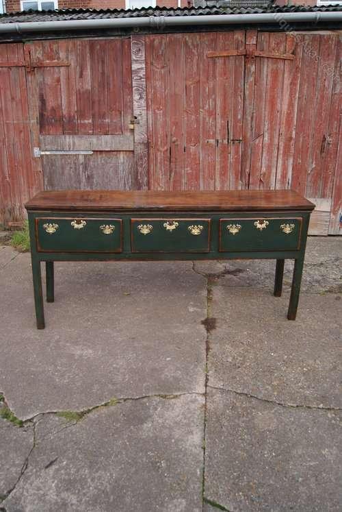 Georgian Painted Oak 3 Drawer Dresser Base SOLD
