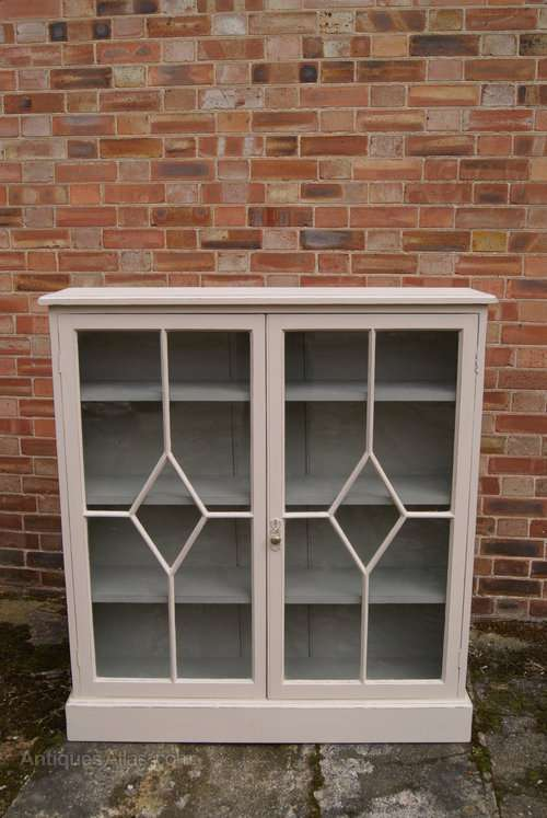Late Victorian Painted Pine Glazed Bookcase SOLD