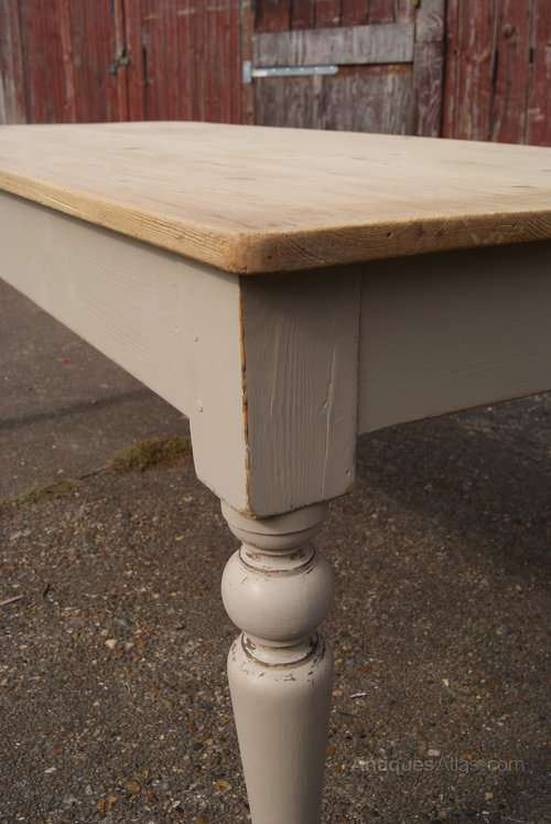 Late Victorian Painted Pine Farmhouse Table3