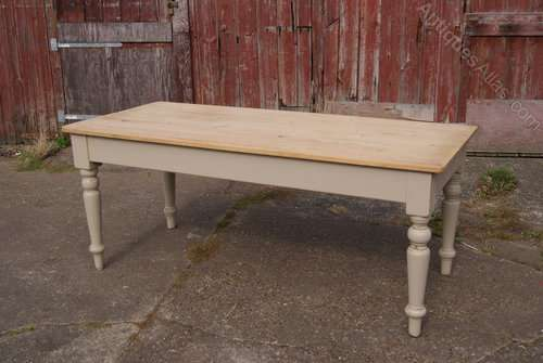 Late Victorian Painted Pine Farmhouse Table