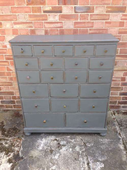 Mid 19th Century Painted Oak Bank Of Drawers