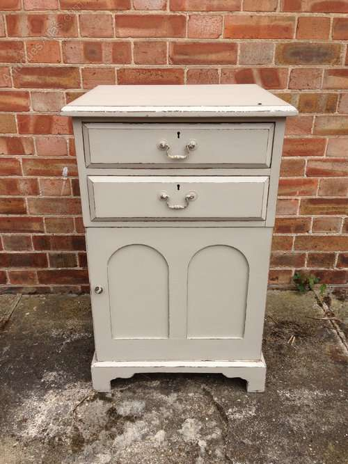 Mid Victorian Painted 2 Drawer Cupboard SOLD