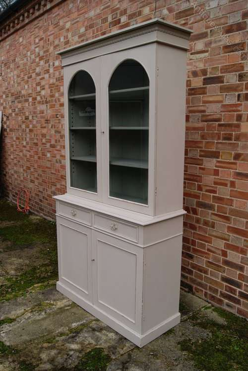 Mid Victorian Painted Mahogany Cupboard Bookcase1