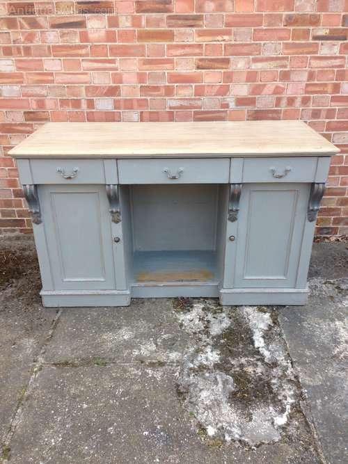 Mid Victorian Painted Oak Dresser Base