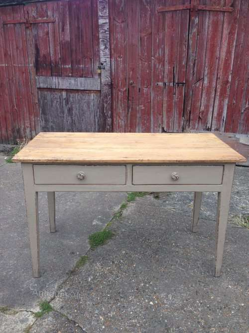 Mid Victorian Painted Pine Kitchen Table