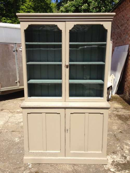 Mid Victorian Painted Pitch Pine Cupboard Bookcase