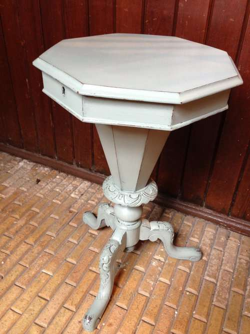 A Painted Victorian Hexagonal Sewing Tripod SOLD