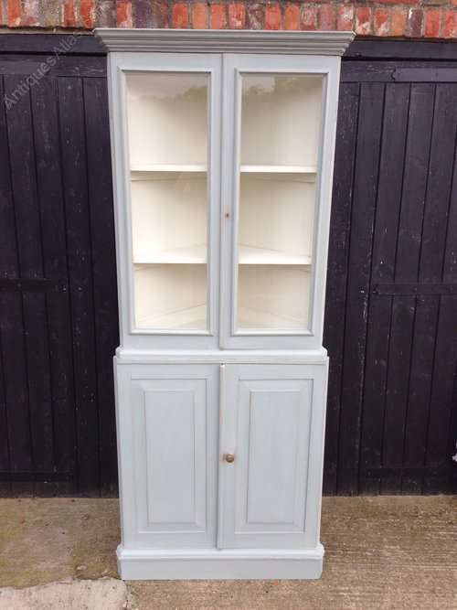 Old Painted Pine Glazed Corner Cupboard SOLD