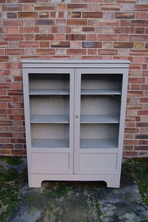 Painted Oak 1920's 2 Door Glazed Cupboard SOLD