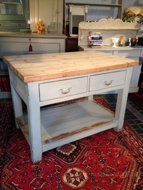 Painted Pine 4 Drawer Island Prep Table SOLD