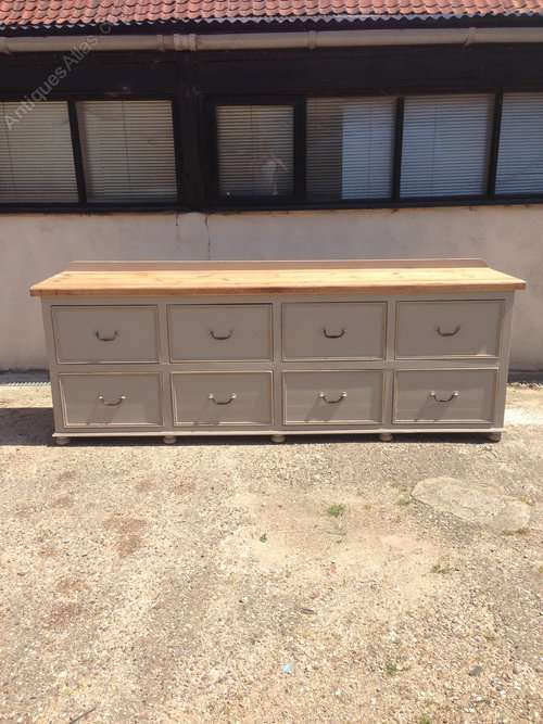 Painted Pine 8 Drawer Dresser Base SOLD