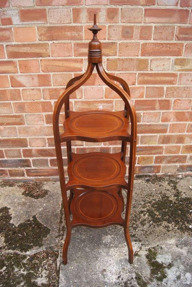 Edwardian Inlaid mahogany Cakestand