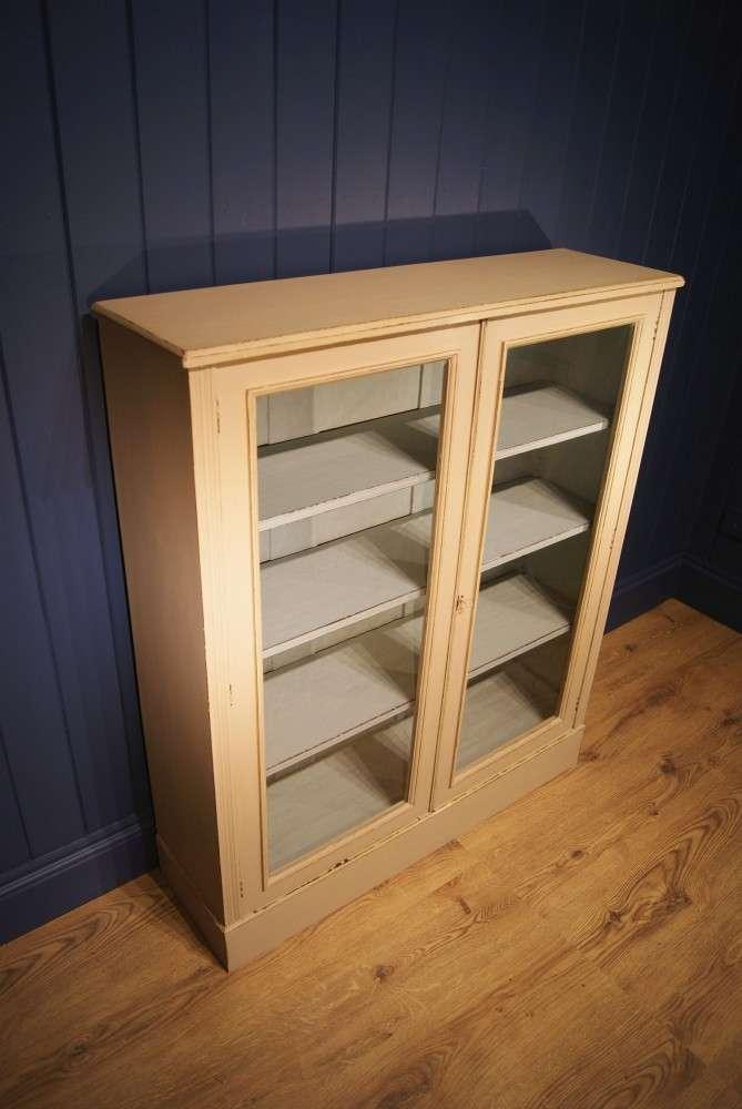 Edwardian Painted Walnut Glazed Bookcase1