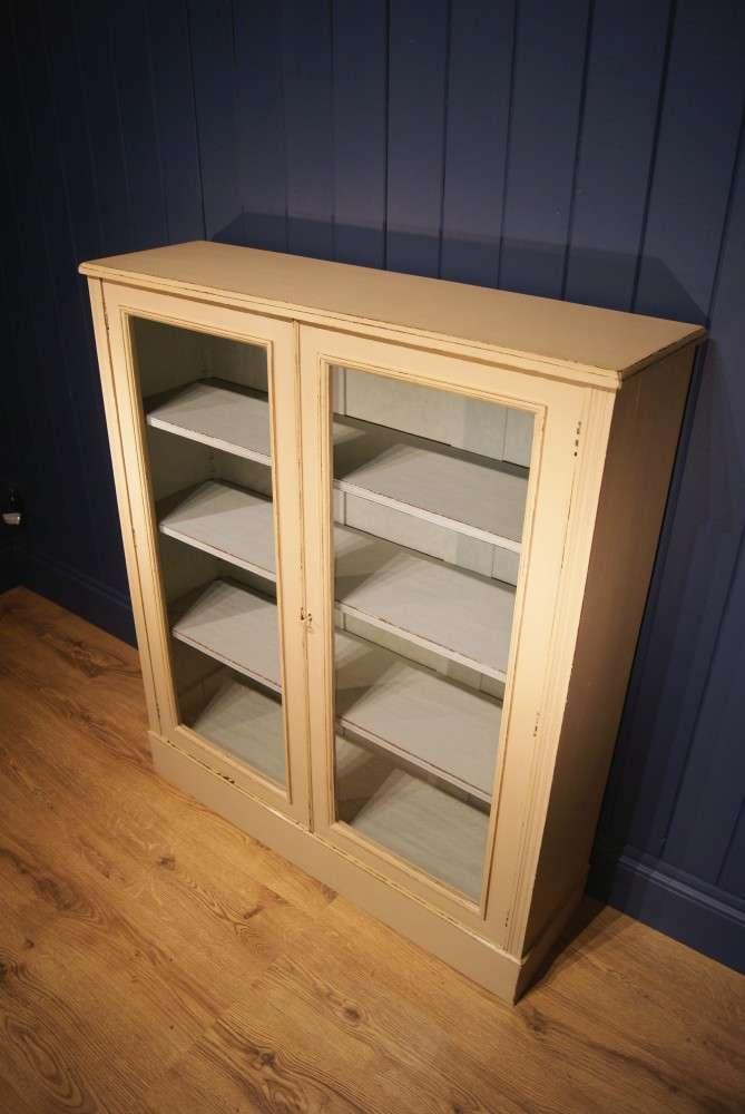 Edwardian Painted Walnut Glazed Bookcase2