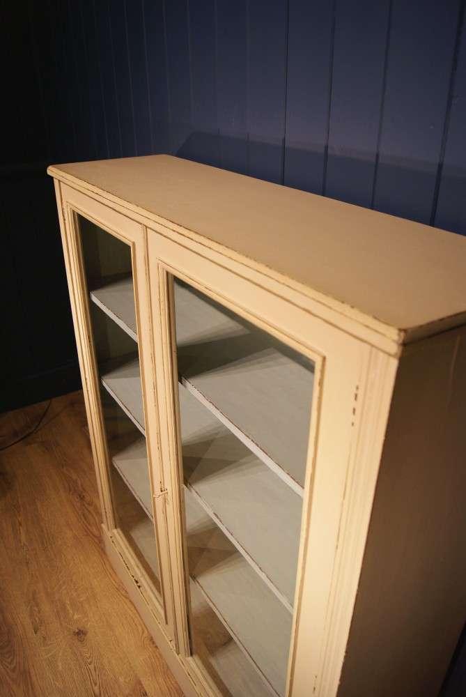 Edwardian Painted Walnut Glazed Bookcase4
