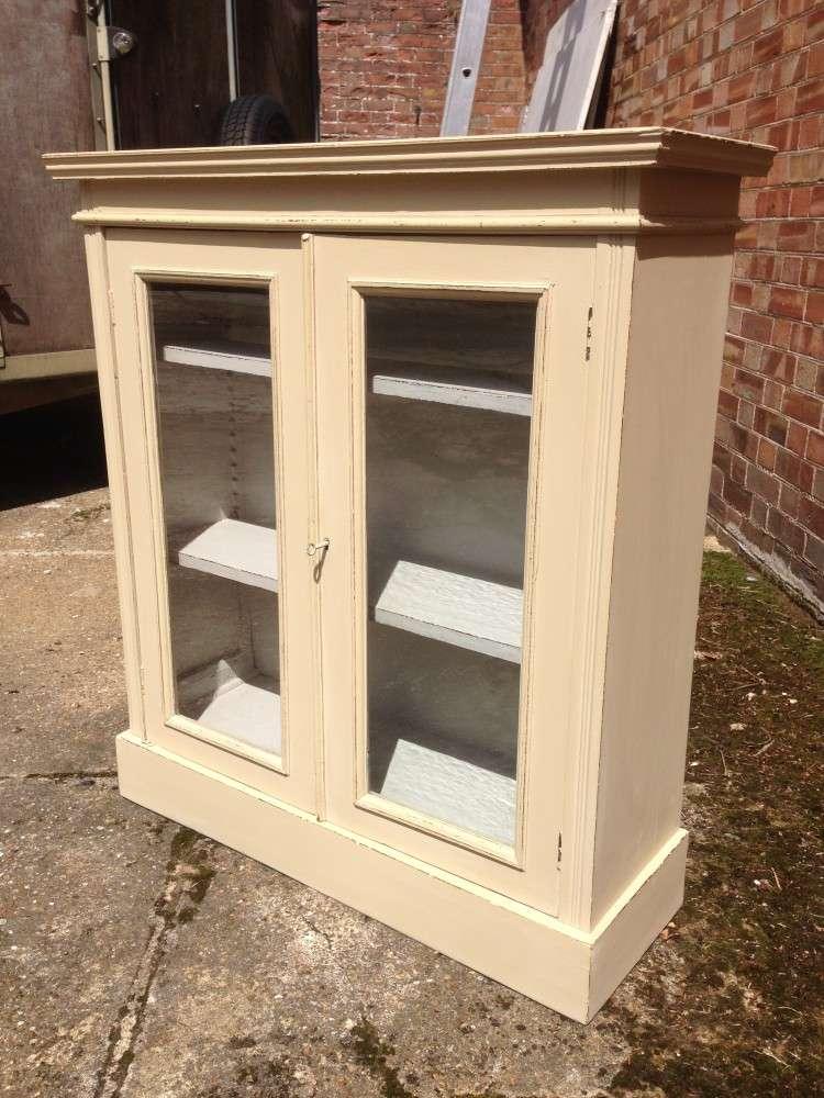 Edwardian Painted Mahogany Glazed Bookcase1
