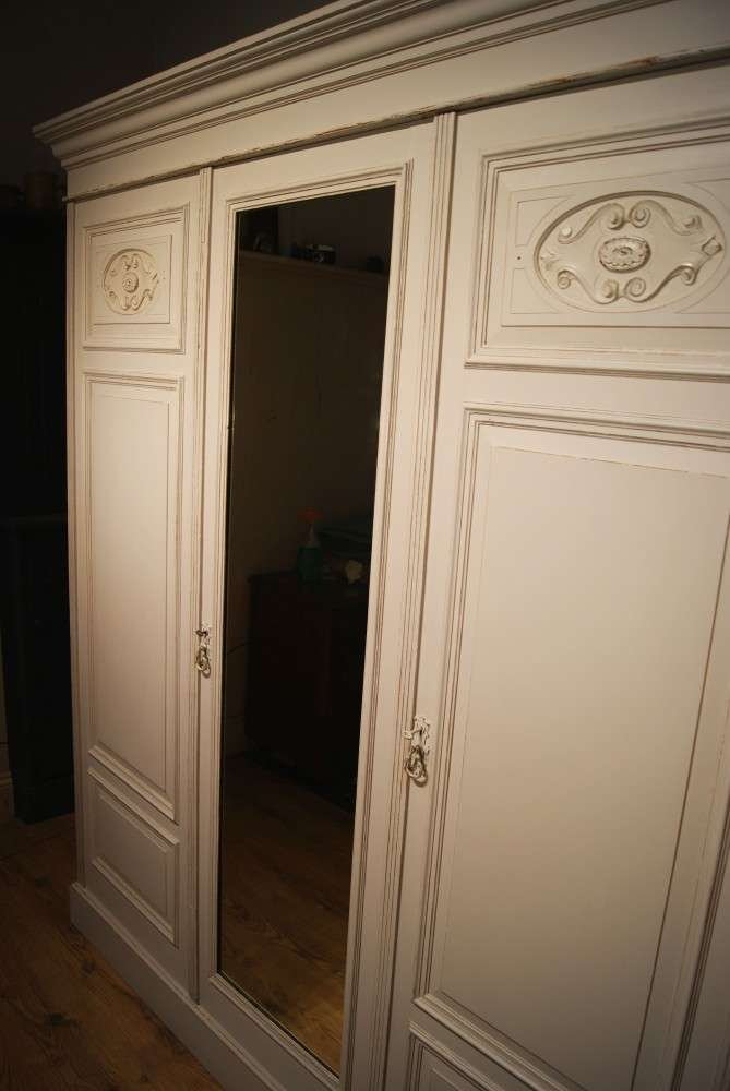 Late Victorian Painted Triple Wardrobe1