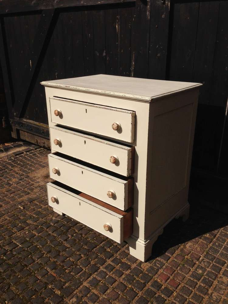 Edwardian Painted Oak 4 Drawer Chest2