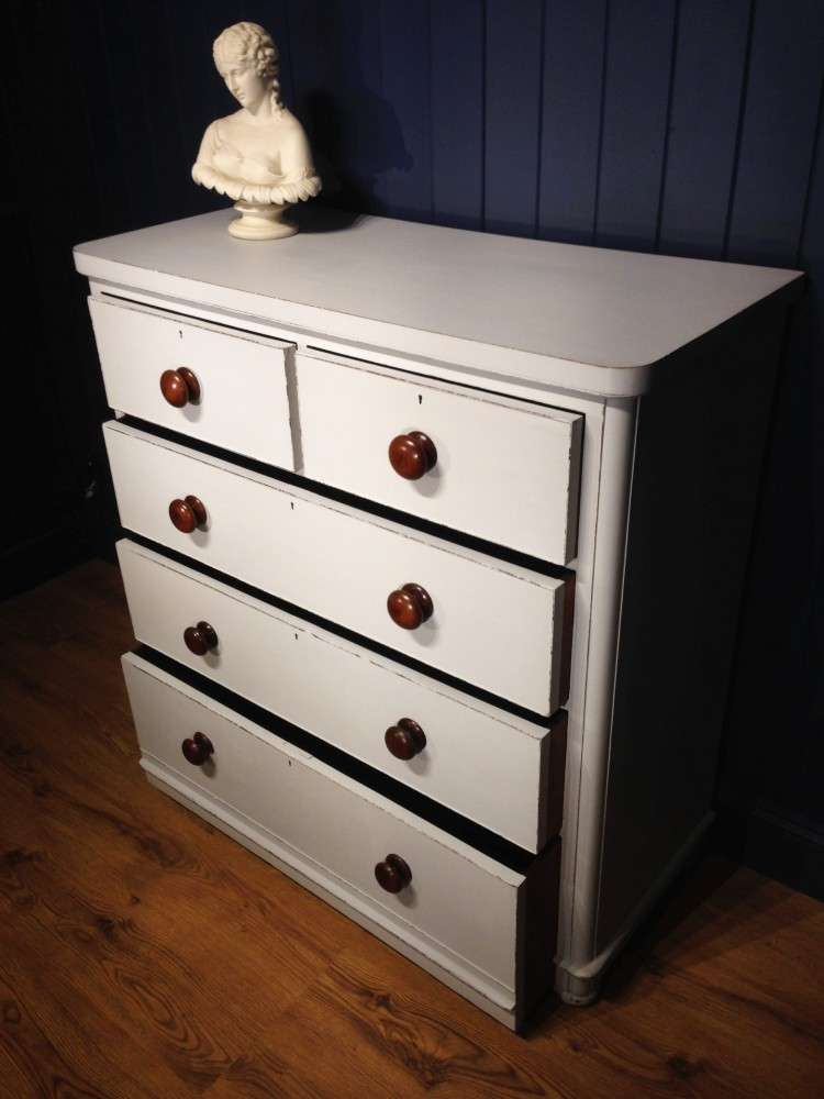 Mid Victorian Painted Mahogany Chest Of Drawers2