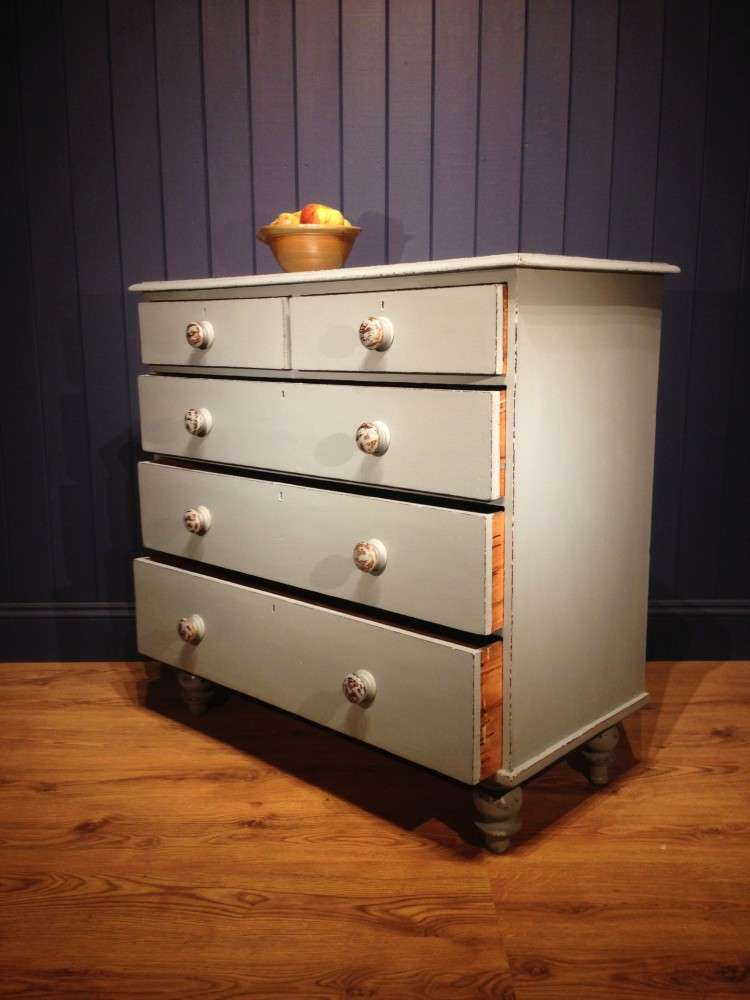 Mid Victorian Painted Pine Chest Of Drawers2