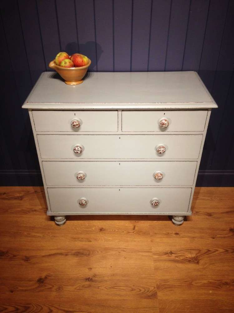 Mid Victorian Painted Pine Chest Of Drawers3