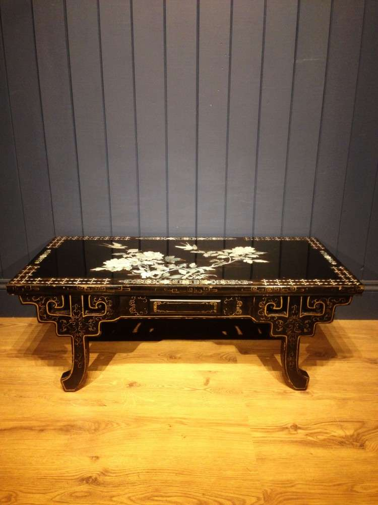 1930's Black Lacquered Mother Of Pearl Table