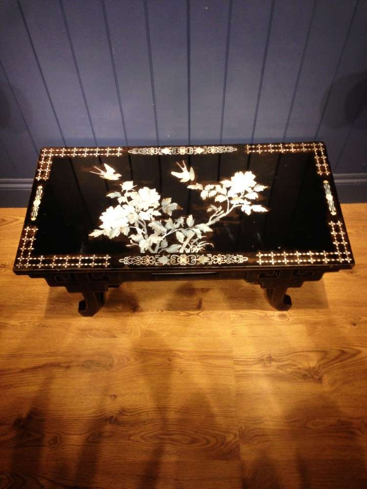 1930's Black Lacquered Mother Of Pearl Table3