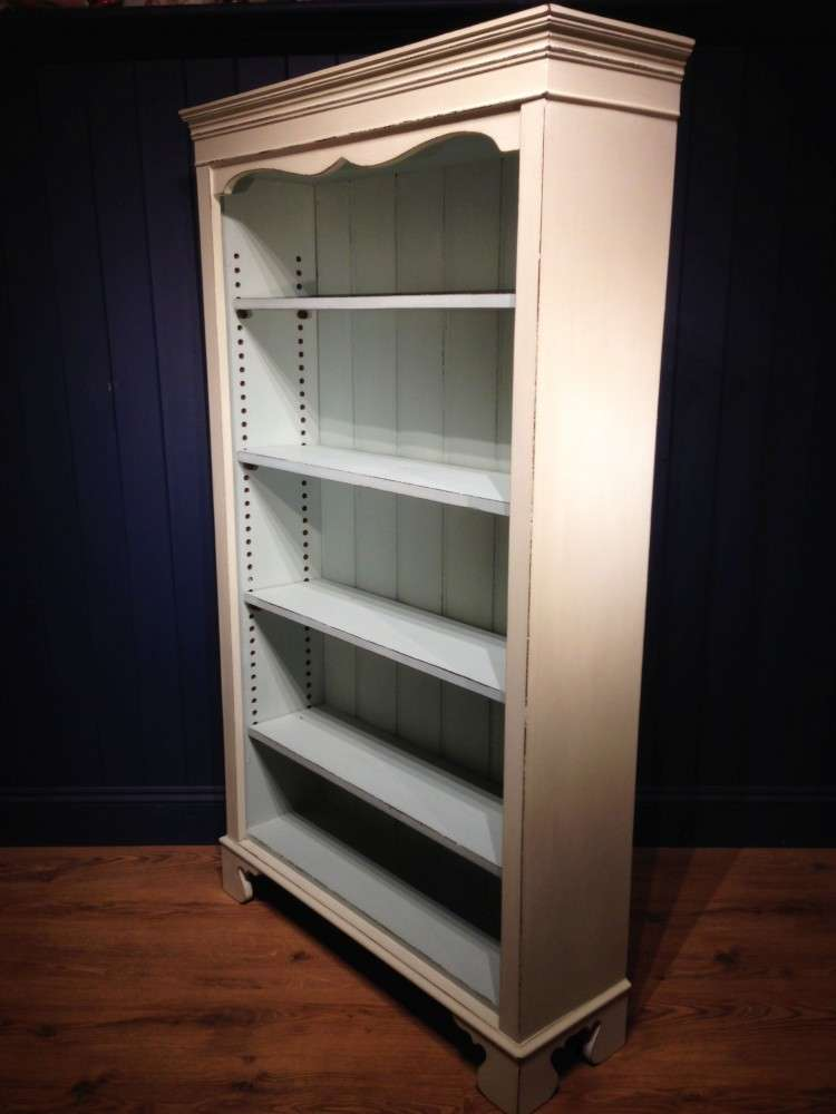Late Victorian Painted Pine Open Bookcase1