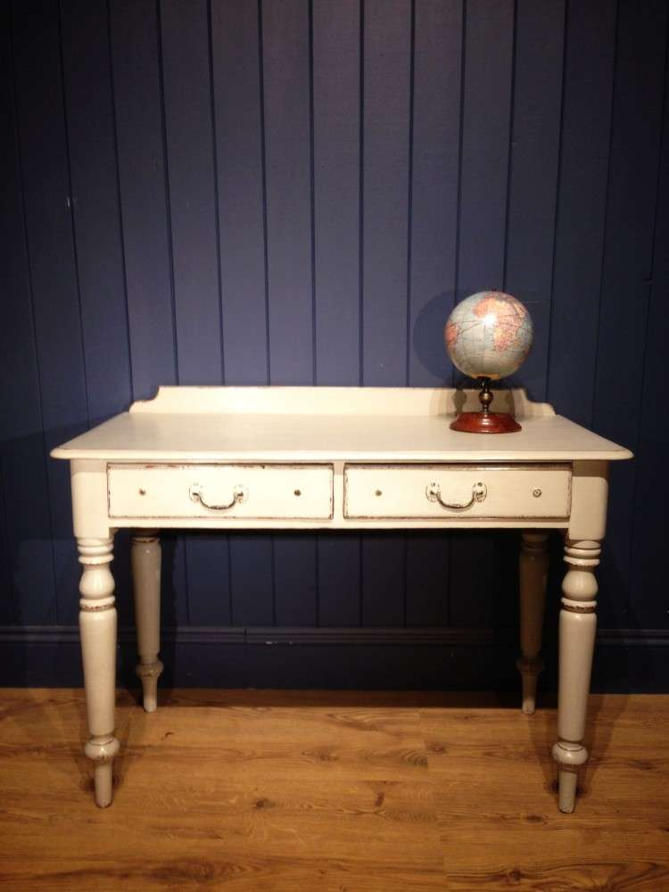 Mid Victorian Painted Pine Writing Dressing Table
