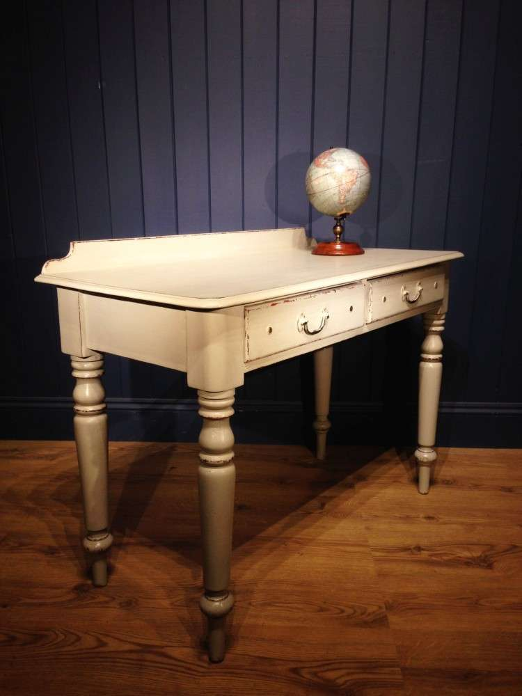 Mid Victorian Painted Pine Writing Dressing Table1