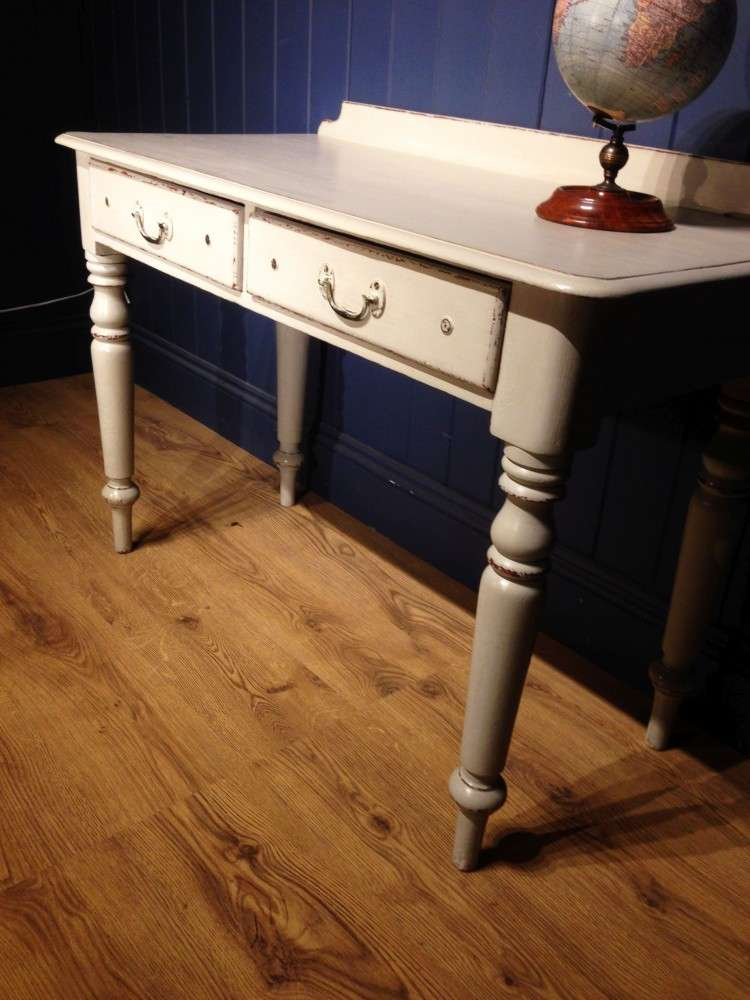 Mid Victorian Painted Pine Writing Dressing Table3