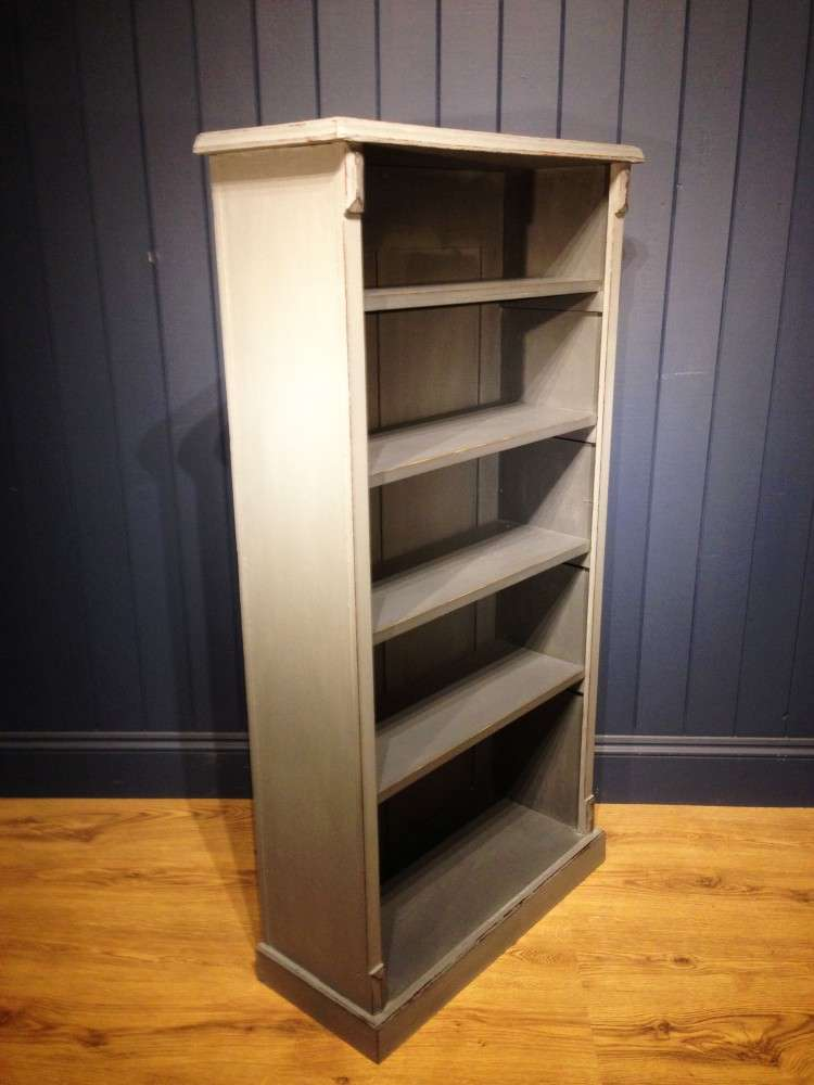 Late Victorian Painted Oak Open Bookcase1