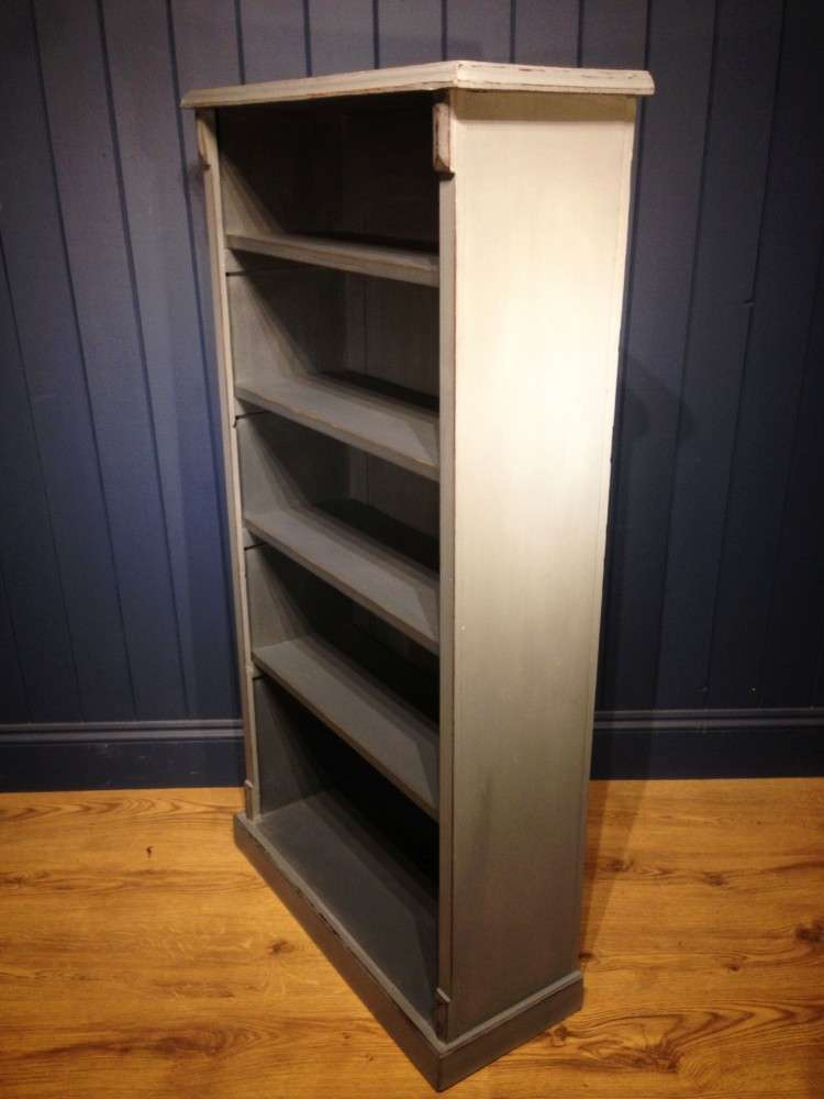 Late Victorian Painted Oak Open Bookcase2