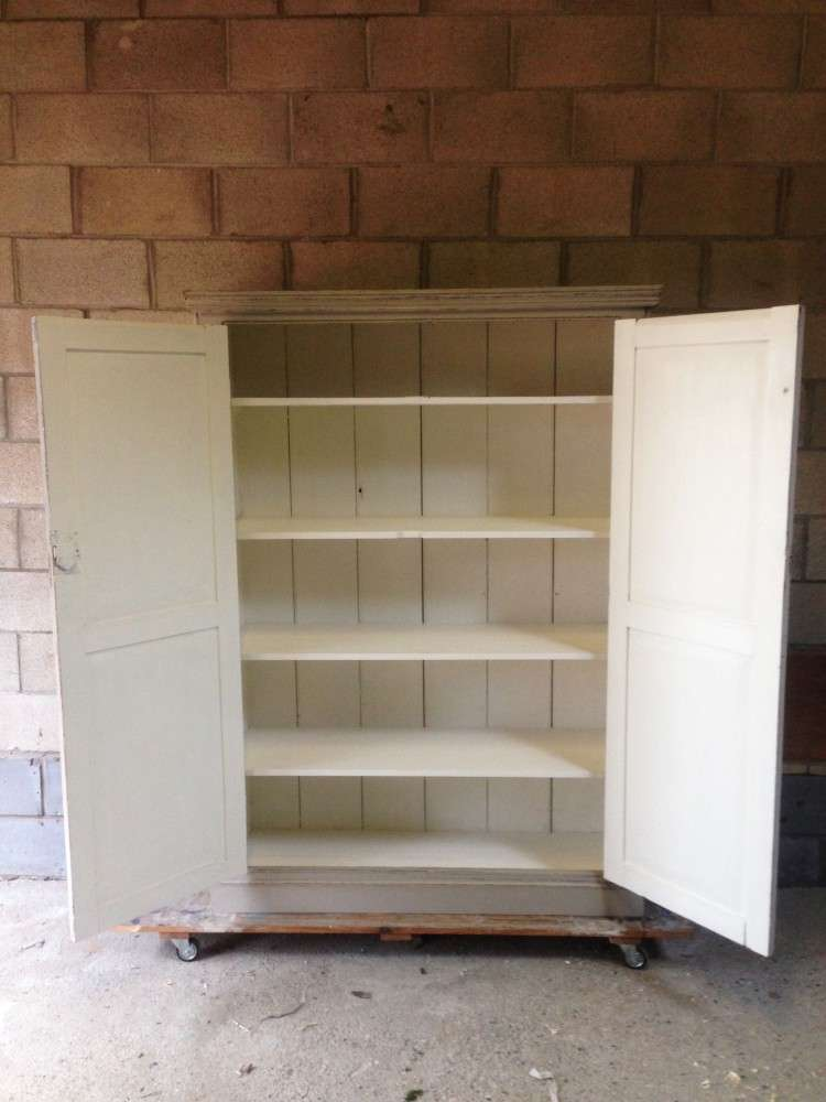 Early Victorian Painted Pine Housekeepers Cupboard3