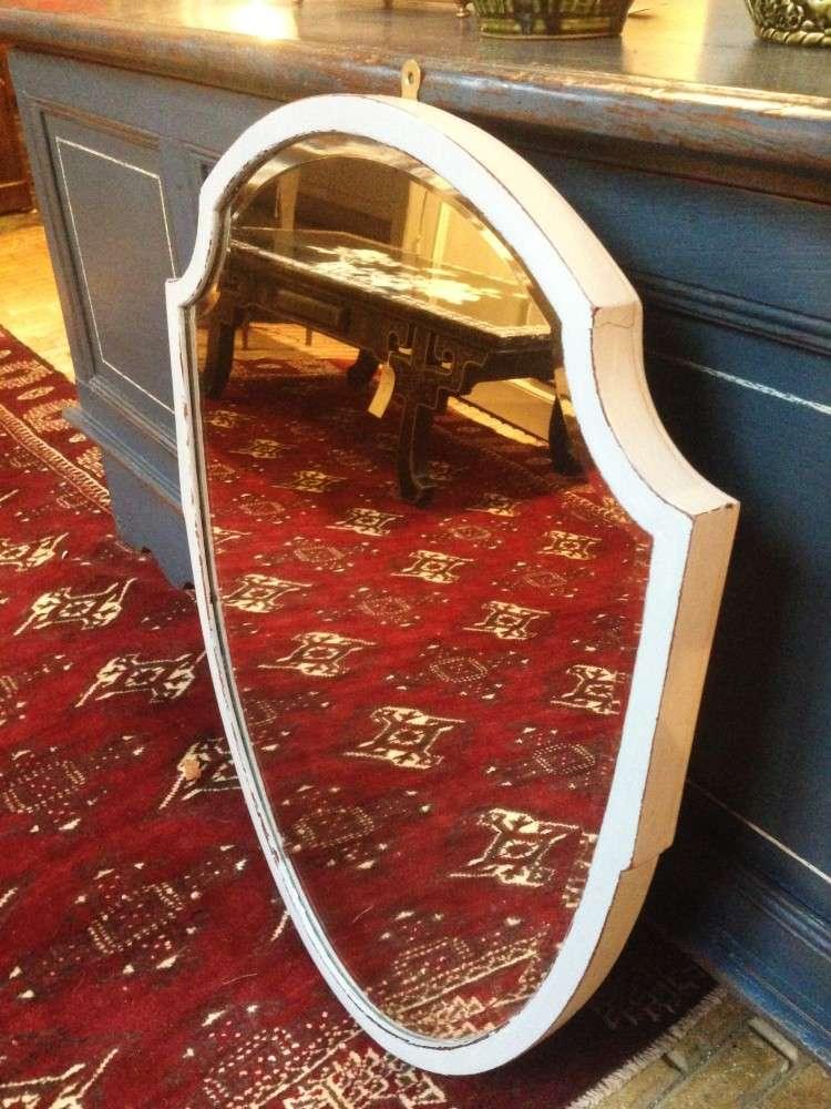 Edwardian Painted Mahogany Shield Mirror1