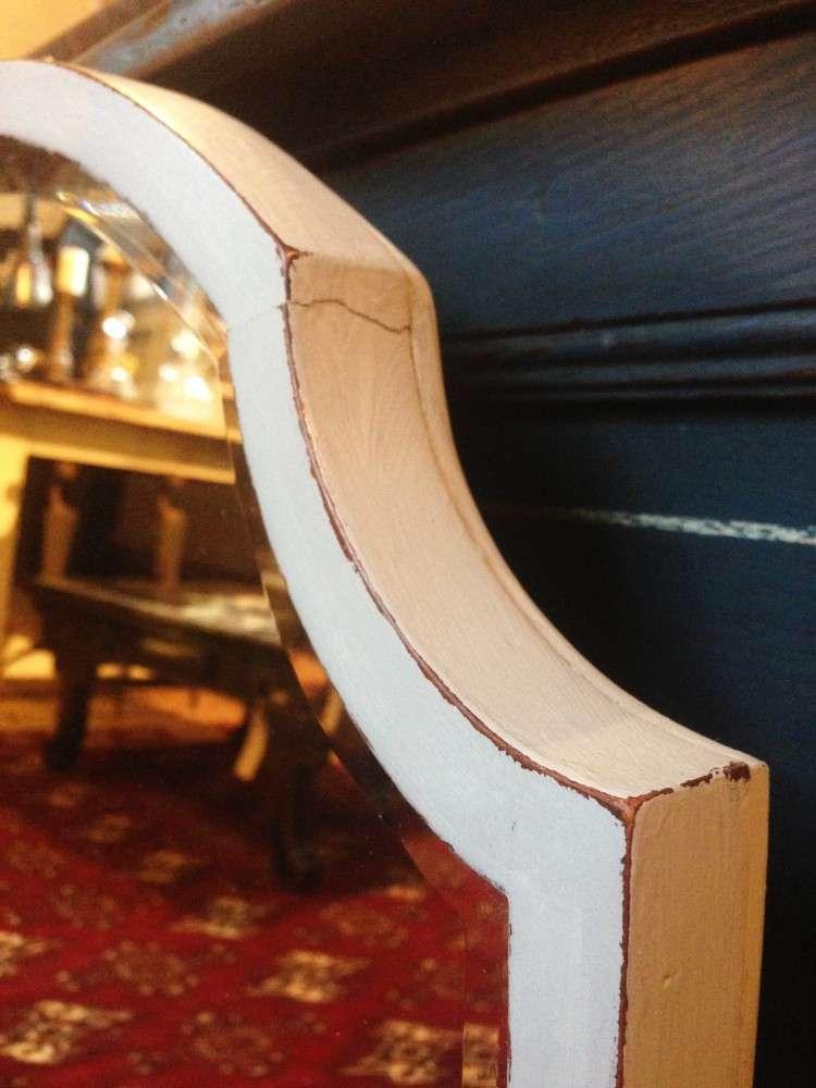 Edwardian Painted Mahogany Shield Mirror2