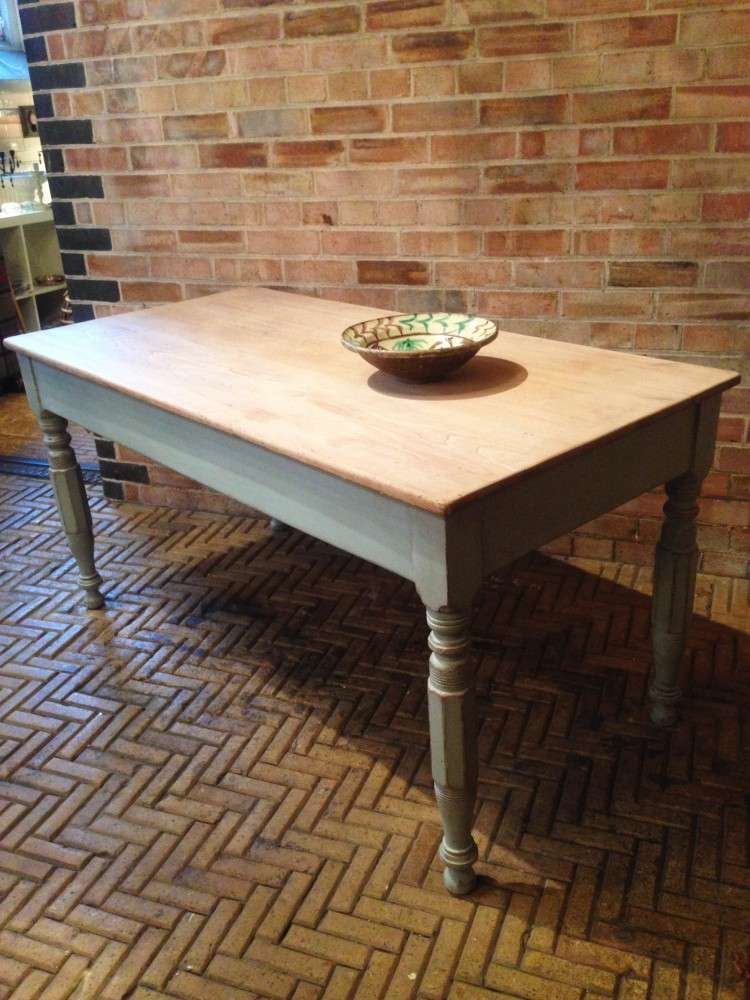 Early Victorian Painted Ash Kitchen Table